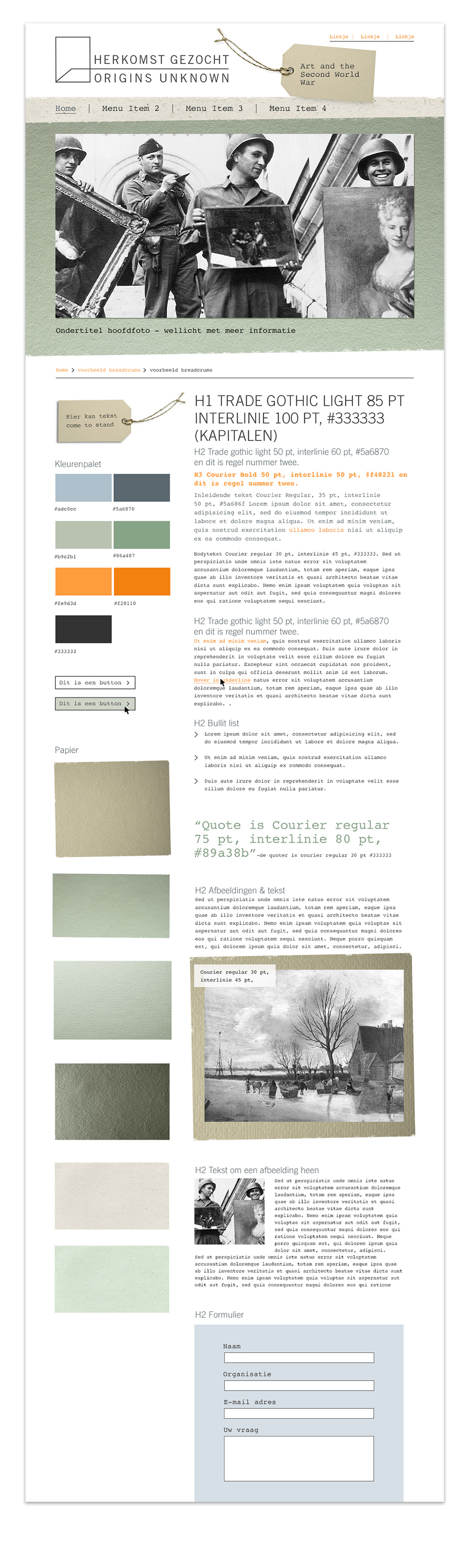Website ontwerp Herkomst Gezocht