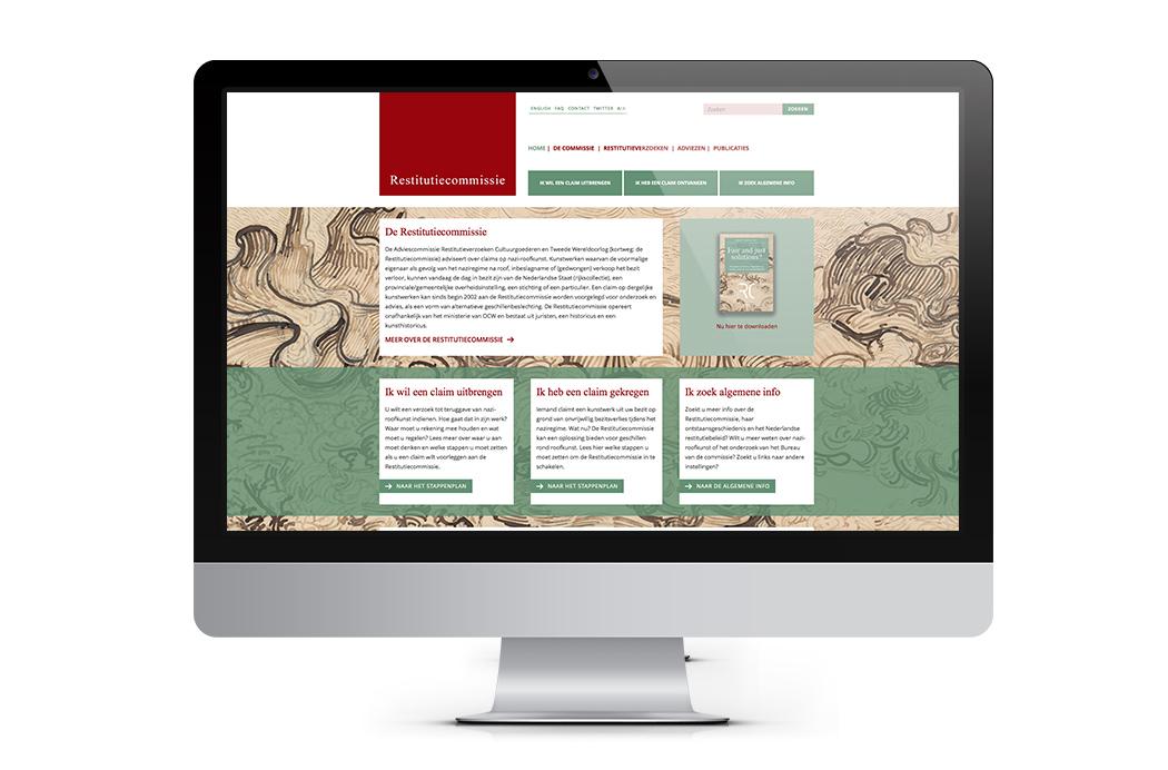 Ontwerp website homepage Restitutiecommissie