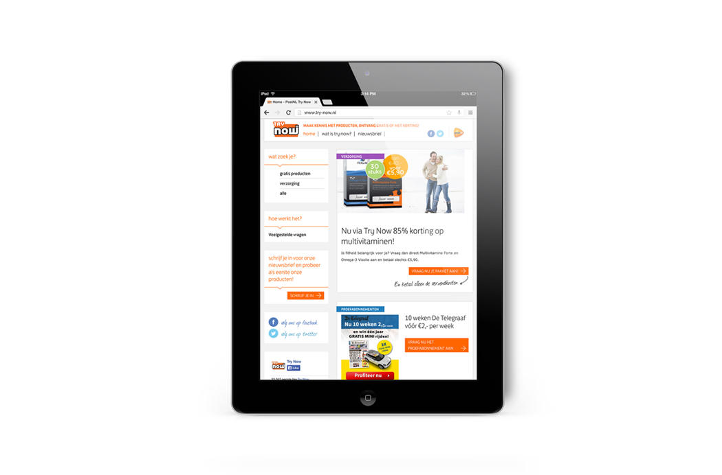 PostNL Try-Now Website